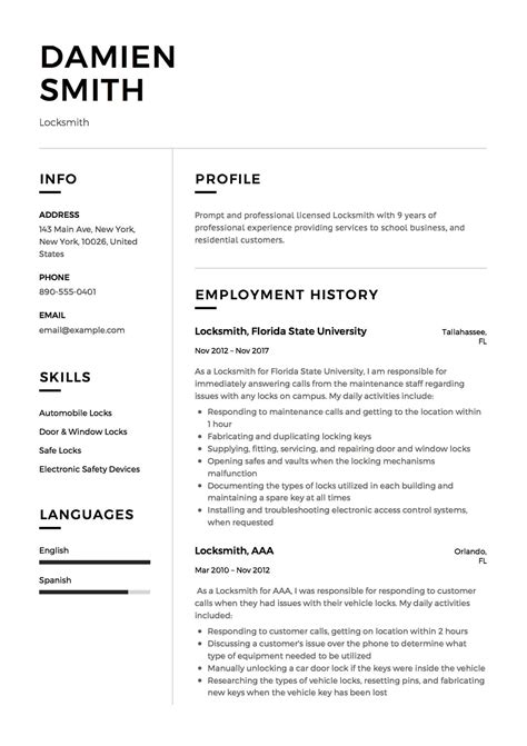 The Resume by 12 Locksmith Resume Sle S 2018 Free Downloads