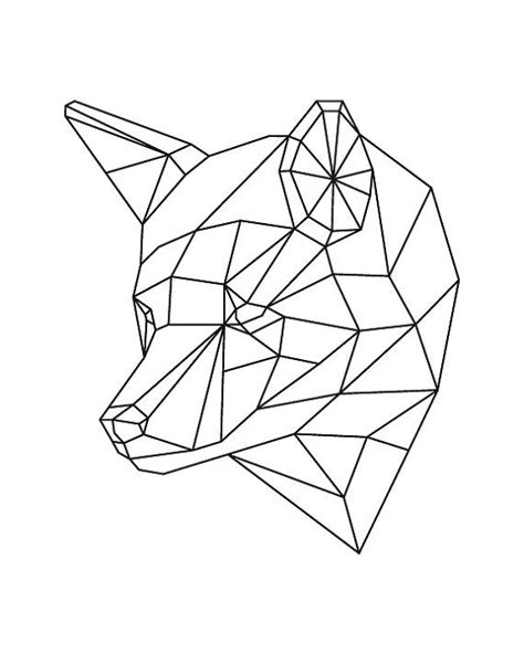 geometric animal geometric fox fox art fox art print