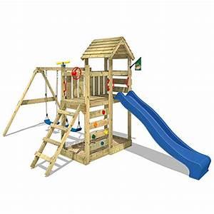wickey spielturm multiflyer kletterturm mit holzdach With französischer balkon mit garten rutsche