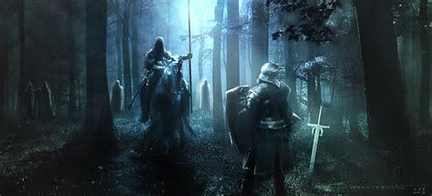 artstation knights forest scene kieran belshaw