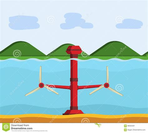 tidal power station stock vector illustration  hydro