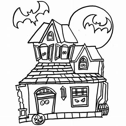 Haunted Coloring Pages Mansion Drawing Cartoon Halloween