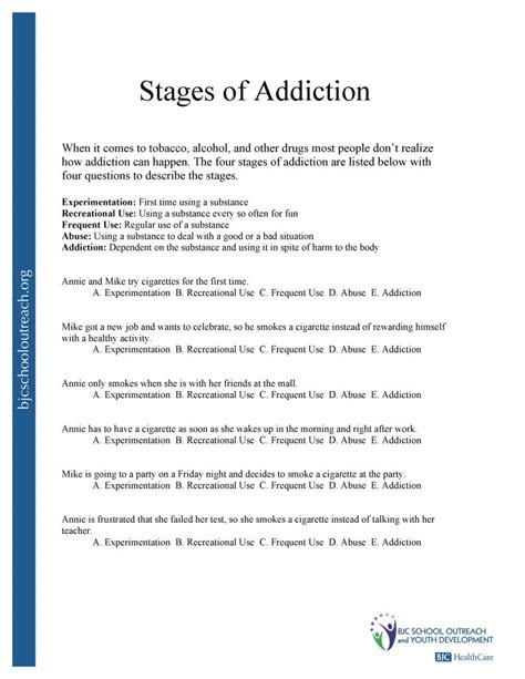recovery worksheets substance abuse relapse prevention