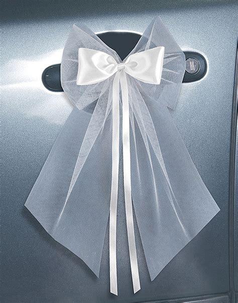 noeud de voiture mariage en tulle cocardes porti 232 re tulle et satin autocollantes