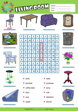 living room word search puzzle esl vocabulary worksheet