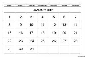 Monthly Printable Calendar January 2017