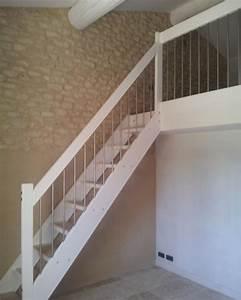 Escalier Droit Bois : escalier bois et blanc ~ Premium-room.com Idées de Décoration
