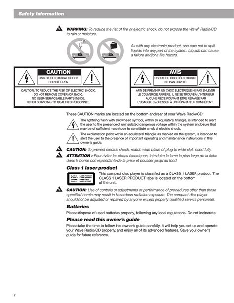 caution avis safety information class 1 laser product bose wave radio user manual page 2 30