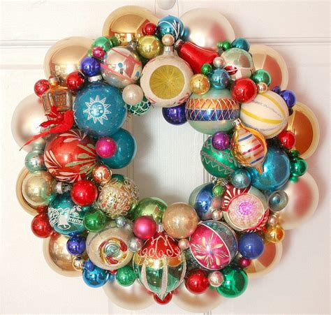 shiny bright christmas ideas vintage ornaments wreath shiny brite fabulous
