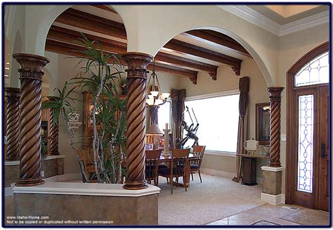 designed wood columns  ceiling beams pictures