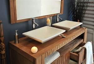 placard salle de bain bois With salle de bain design avec vasque bois