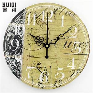 Vintage home decor wall clock fashion silent bedroom for Decorative wall clock with moving parts
