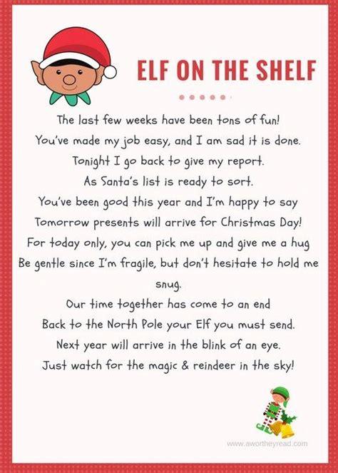 elf   shelf printable goodby letter elf