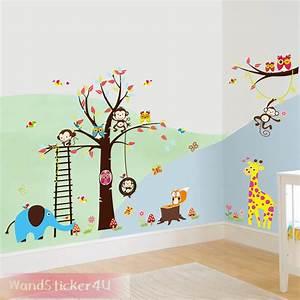 Wandtattoo Tiere Kinderzimmer : wandtattoo kinderzimmer baum afrika wald tiere zoo ~ Watch28wear.com Haus und Dekorationen