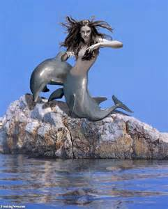 Beautiful Mermaid and Dolphin