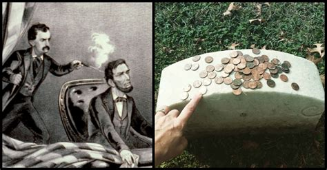 people  placing pennies  john wilkes booths grave