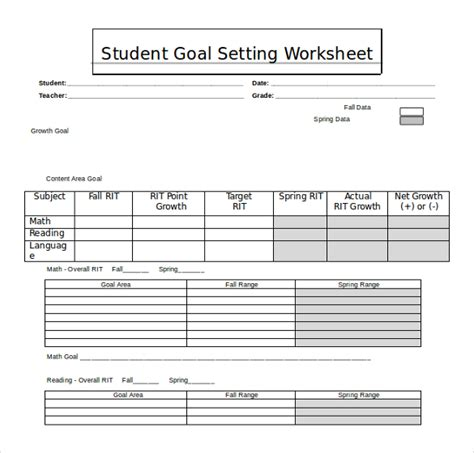 student goal setting template 20 worksheet templates free ms word 2010 format free premium templates