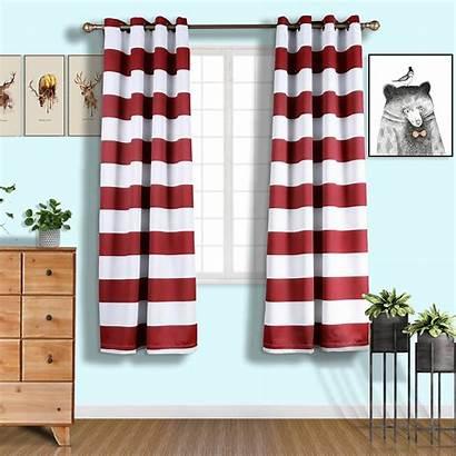 Curtains Blackout Thermal Window Chrome Grommet Stripe