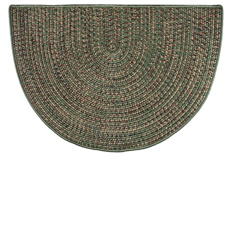 goods   woods green braided polyester   hearth rug