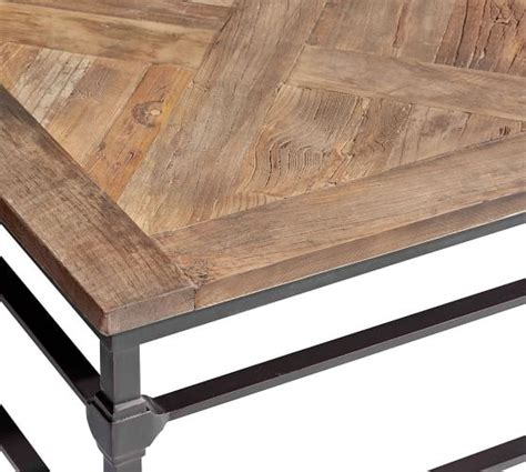 4.88h reclaimed fir wood top and lower shelf, metal legs Parquet Reclaimed Wood Square Coffee Table   Pottery Barn in 2020   Coffee table square, Large ...