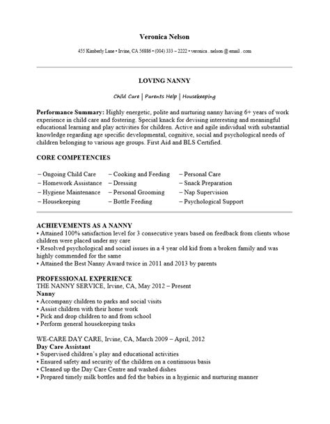 sle resume for nanny resume exles hobbies and interests