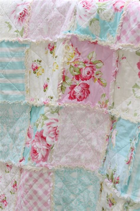 shabby chic blue quilt crib rag quilt baby girl crib bedding shabby chic nursery sunshine roses pink blue nursery