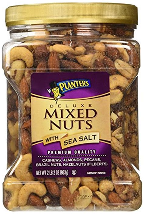 Planters Unsalted Mixed Nuts by Planters Deluxe Mixed Nuts With Sea Salt 34 Oz