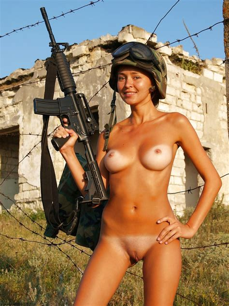 Naked Army Gal With A Gun Nudeshots