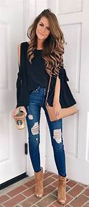40+ Classy Fall Outfits To Copy ASAP   Black cold shoulder top Ripped skinny jeans and Cold ...