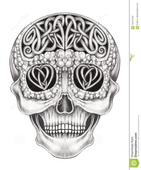 Art Celtic Mix Surreal Skull Stock Illustration
