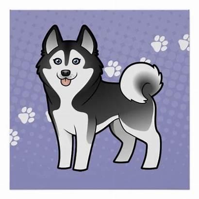 Husky Cartoon Siberian Malamute Alaskan Dog Poster