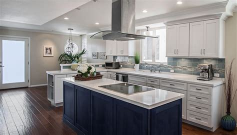 galley kitchen designs with island modern blue stained kitchen island with white marble