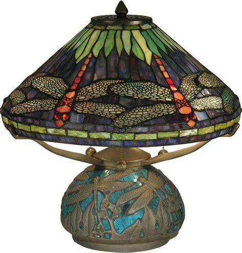 Dale Tiffany Table Lamp Dragonfly Shade Base Emerald