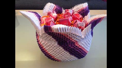 origami korb wir basteln aus papier zusammen mit fererro youtube