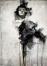 Dark Abstract Art Black and White