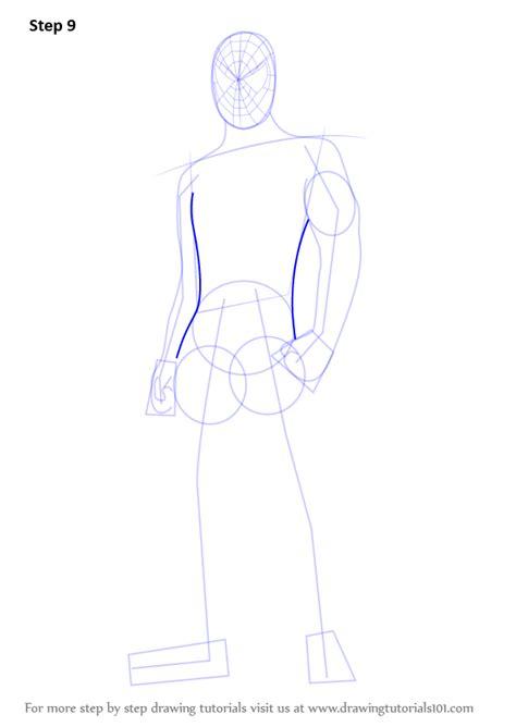 learn   draw spiderman standing spiderman step  step drawing tutorials