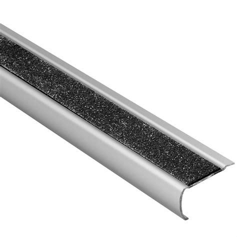 metal stair nosing for tile schluter trep gk b brushed stainless steel black 1 16 in