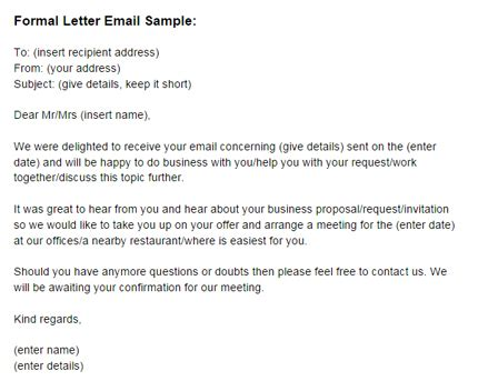 formal letter email sample formal email letter template