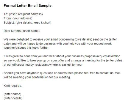 formal letter email sample formal email letter template