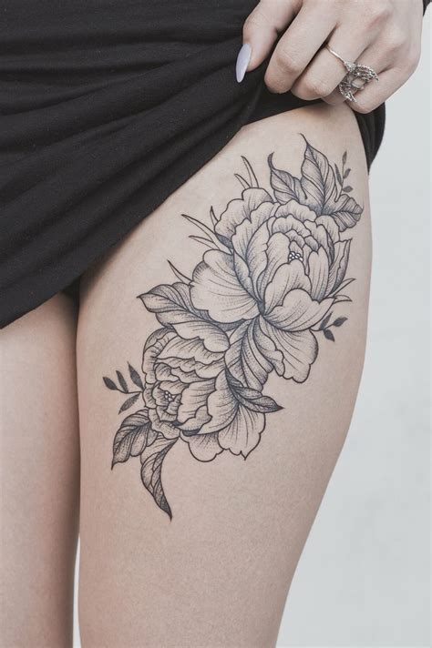 peony flower thigh tattoo tattoos floral thigh tattoos flower thigh tattoos pretty