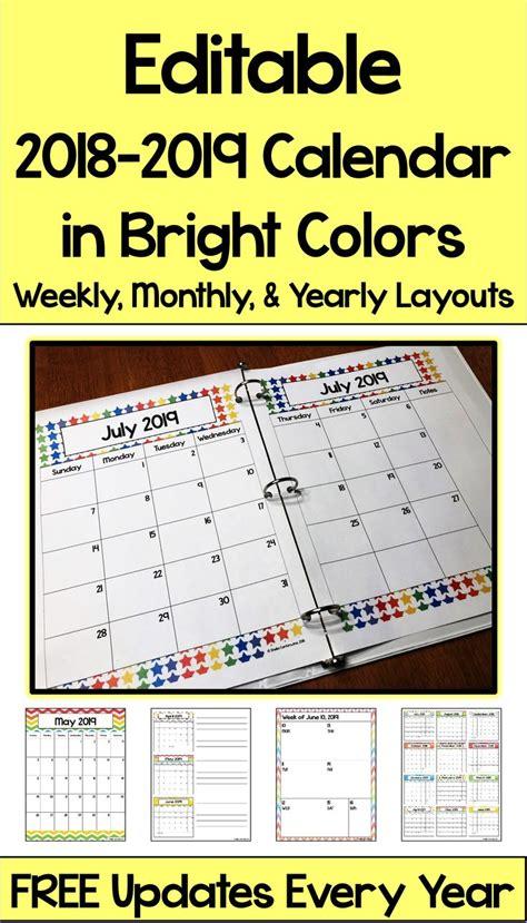 editable calendar bright colors differentiated math