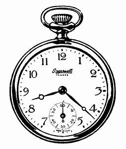 Vintage Clip Art - Black and White Pocket Watches - The ...