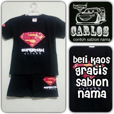 jual kaos baju setelan anak logo superman gratis