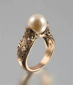 pearl engagement rings gold wedding the enchanted pearl 14k gold ring 2171292 weddbook