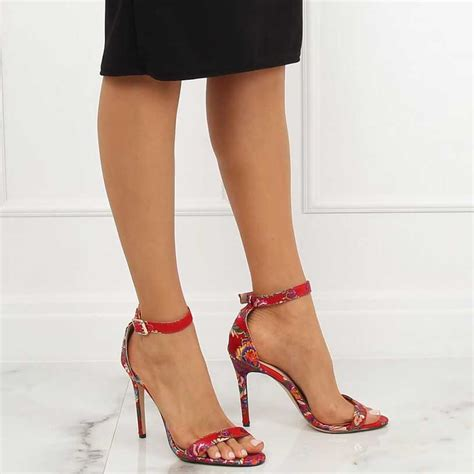 Sandale cu imprimeu floral, toc subțire - 131021 - Stiletto.ro