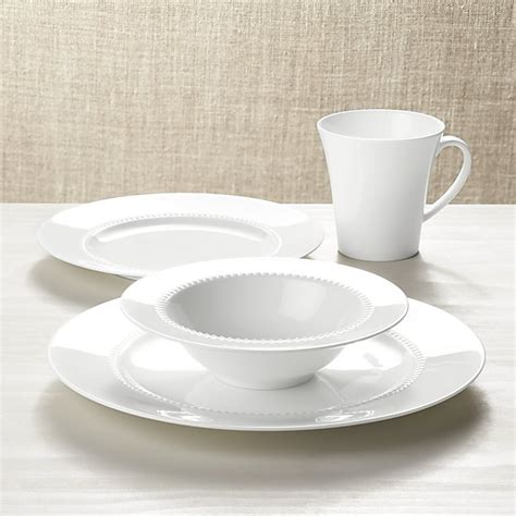 white pearl  piece place setting crate  barrel