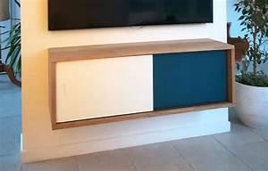 Meuble Tv Accroché Au Mur : meuble mural tv coulissant cr ation de meubles en bois sur mesure ~ Preciouscoupons.com Idées de Décoration