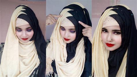 criss cross hijab style  black saree  legend
