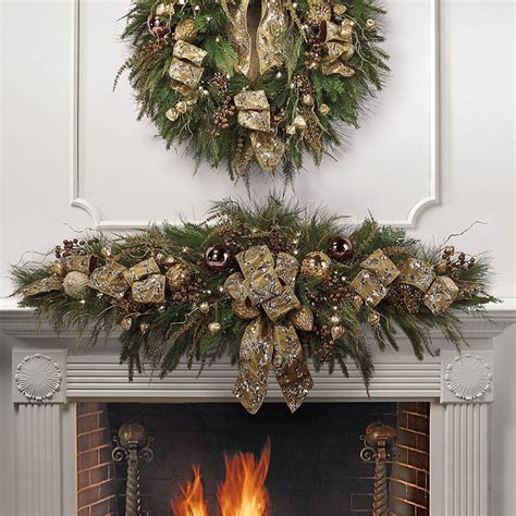 shades of gold pre decorated christmas mantel swag