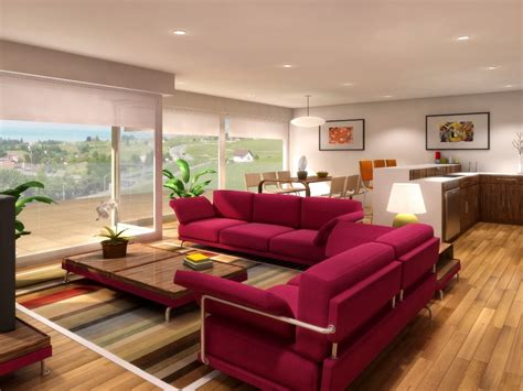 Beautiful Living Room With Pink